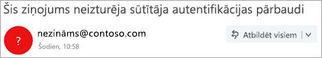 Ekrānuzņēmums, kurā iekļauta jautājumzīme sūtītāja attēlā