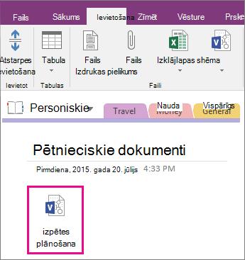Ekrānuzņēmums, kurā parādīts, kā pievienot Visio failu lapai programmā OneNote2016.