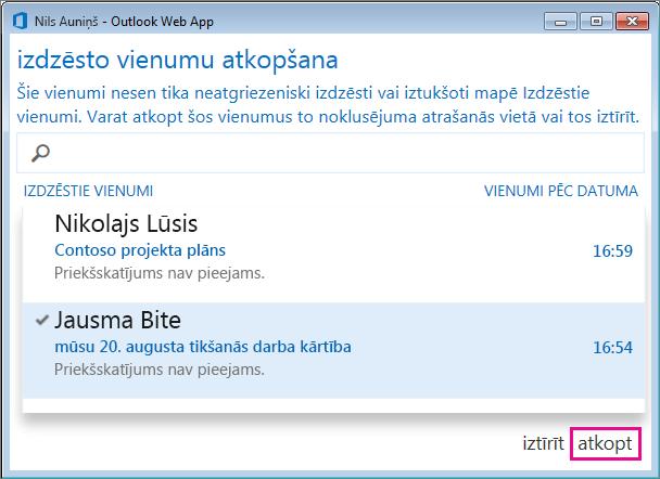 Outlook Web App dialoglodziņš Izdzēsto vienumu atkopšana