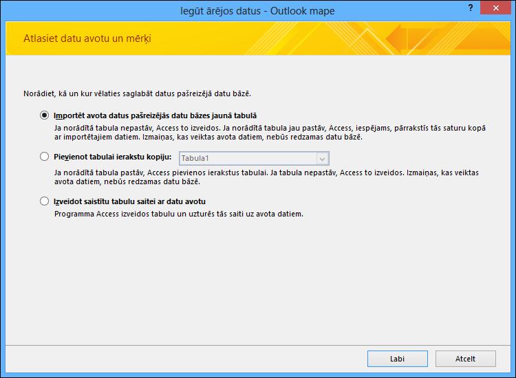 Atlasiet, lai importētu, pievienotu Outlook mapi vai norādītu saiti uz to.