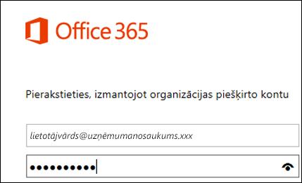 office365 portāla pierakstīšanās ekrāns