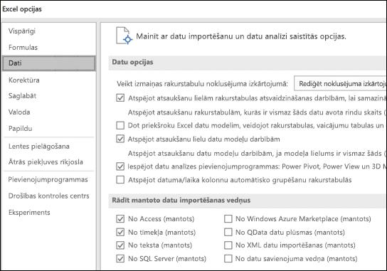 Datu opcijas ir pārvietoti no faila > Opcijas > Papildu sadaļā Jauna cilne jeb dati, noklikšķinot uz Fails > opcijas.
