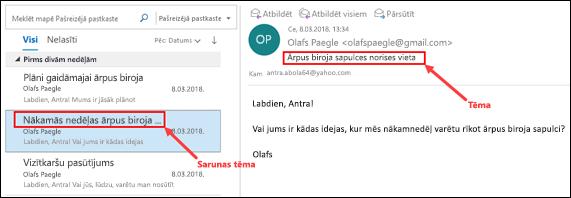 Outlook ziņojumi tiek grupēti pēc sarunas tēma ziņojumu sarakstā.