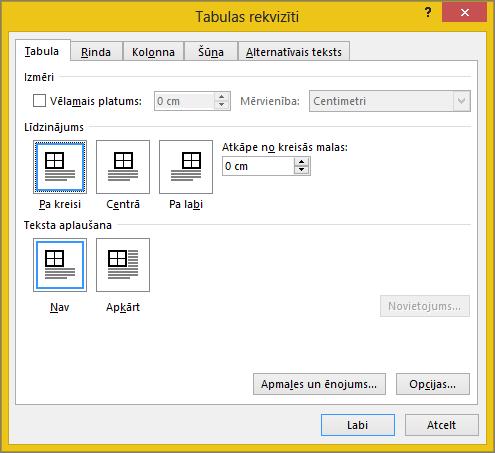 Cilne tabula dialoglodziņā tabulas rekvizīti