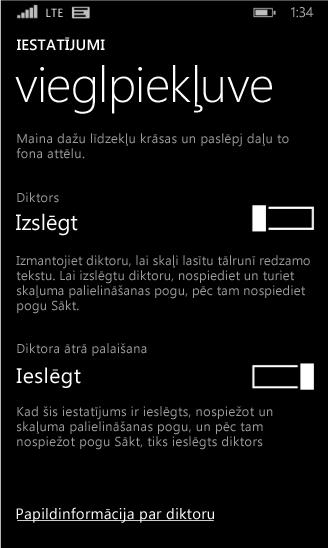 Windows Phone diktora iestatījumi
