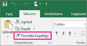 Tiek parādīta poga Formāta kopētājs programmā Excel