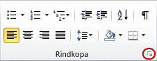 Dialoglodziņa Rindkopa ikona