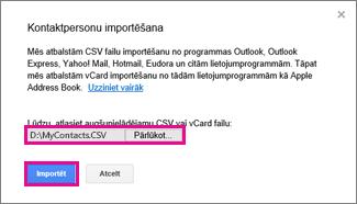 Googel Gmail— kontaktpersonu importēšanas dialogs