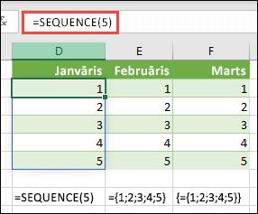 Izveidojiet vertikālu masīva konstanti ar = SEQUENCE (5) vai = {1; 2; 3; 4; 5}