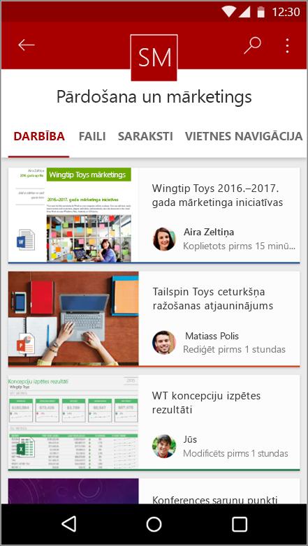 Ekrānuzņēmums ar Android mobilo lietojumprogrammu, kurā tiek rādīta vietnes darbības, failu, sarakstu un navigācija