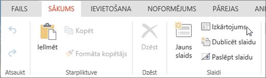 Ekrānuzņēmumā ir redzama cilne Sākums ar kursoru, kas norāda uz izkārtojuma opciju grupā Slaidi.