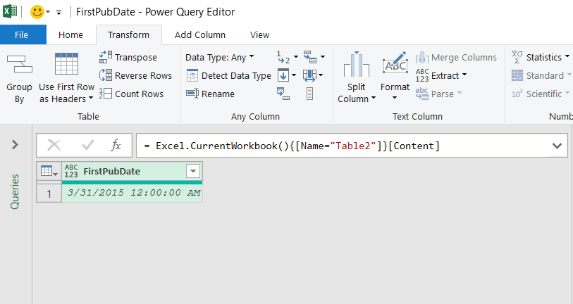 Excel tabulas dati, kas ielādēti Power Query redaktorā