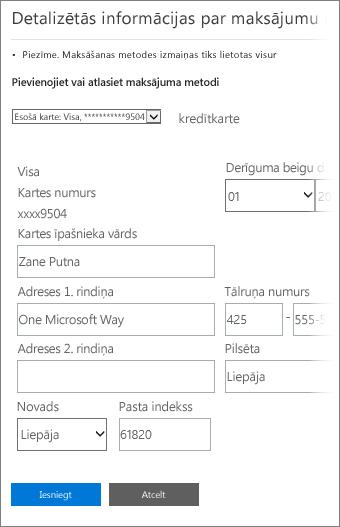 Detalizētās informācijas par maksājumu lapa, kurā var atjaunināt kredītkartes informāciju.