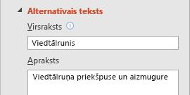 PowerPoint līdzeklis alternatīvais teksts attēliem