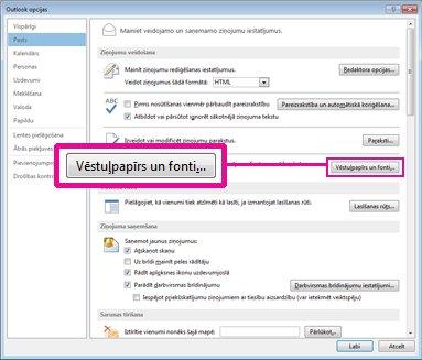 Dialoglodziņa Outlook opcijas komanda Vēstuļpapīrs un fonti