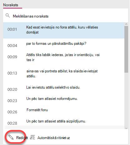 Atlasiet pogu Rediģēt noraksts loga lejasdaļā