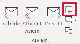 E-pasta ziņojumu, atlasiet atbildēt ar sapulci.