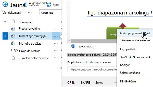 Programmas Word failam, kas tiek atvērts, izmantojot programmas OneDrive Online portāla klasisko skatu, ir atlasīta opcija atvērt >
