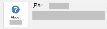 Ekrānuzņēmums ar pogu Par Office MSI instalācijas tipam. Tajā nav iekļauts versijas un būvējuma numurs