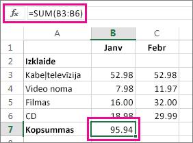 Automātiskās summas piemērs ar redzamu rezultātu