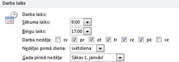 Darba laika atlase Outlook opciju dialoglodziņā