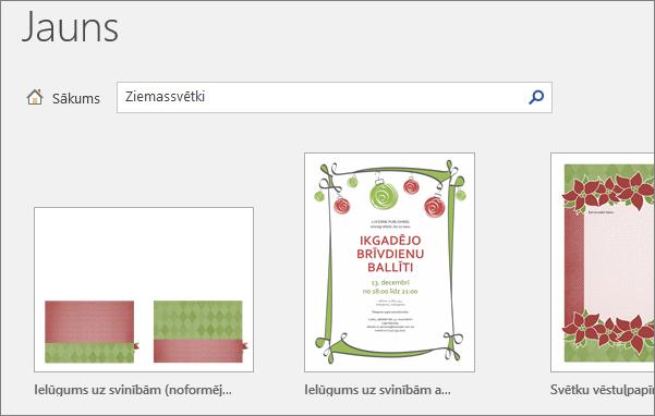 Parāda Ziemassvētku veidnes darbam ar Word 2016