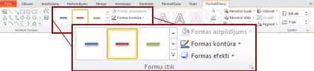 Sadaļas Zīmēšanas rīki cilne Formatēšana programmā PowerPoint 2010.