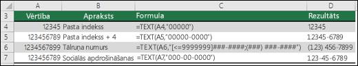 Funkcijas TEXT speciālie formāti
