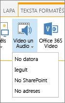 Ievietot Video vai audio poga Rediģēt lentē