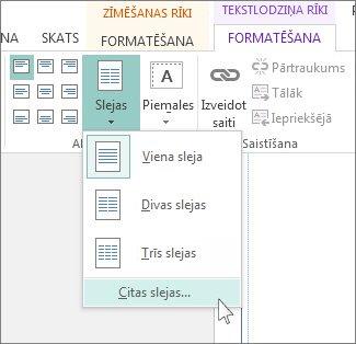 Tekstlodziņa rīki: atstarpe starp slejām