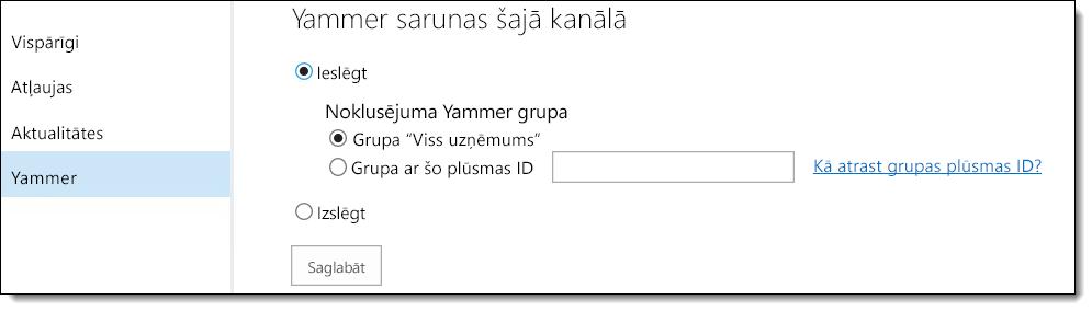 O365 Video Yammer iestatījumi