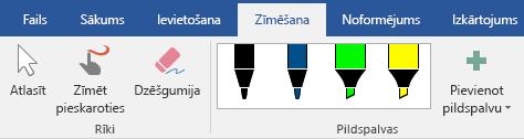 Pildspalvas un marķieri Office 2016 cilnē Zīmēšana