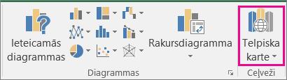 Excel 3D kartes opcija