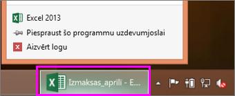 uzdevumjosla ar Excel darbgrāmatas ikonu