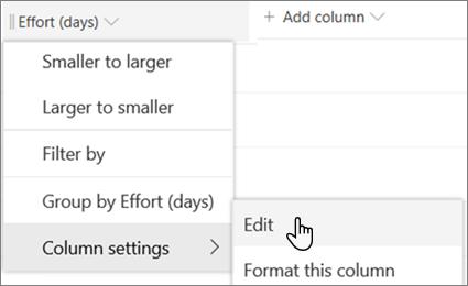 SharePoint kolonnas rediģēšanas rūts, kurā ir atlasīta opcija dzēst