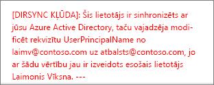 Detalizēta informāciju par lietotāja direktorijs sinhronizēšanas kļūdu