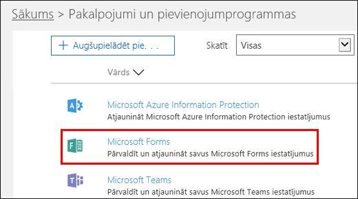 Microsoft Forms admin settings