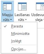 Mapju rūts izvēlnē ir atlasīta opcija Parasts.