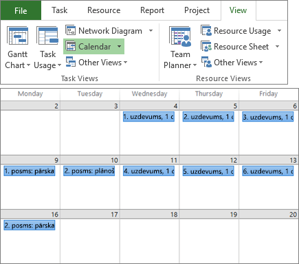 Salikts ekrānuzņēmums ar grupu Uzdevumu skats un Resursu skats cilnē Skats un projekta plānu kalendāra skatā.