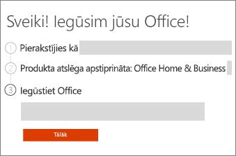 Pārskatiet savu Office produktu