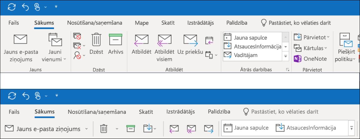 Tagad varat izvēlēties kādu no divām dažādām lentes iespējām programmā Outlook.