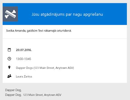 Piegādāts klientiem, izmantojot e-pasta atgādinājumu piemērs