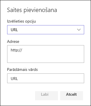 URL saiti pievienotu SharePoint grupas vietnes kreisajā navigācijas