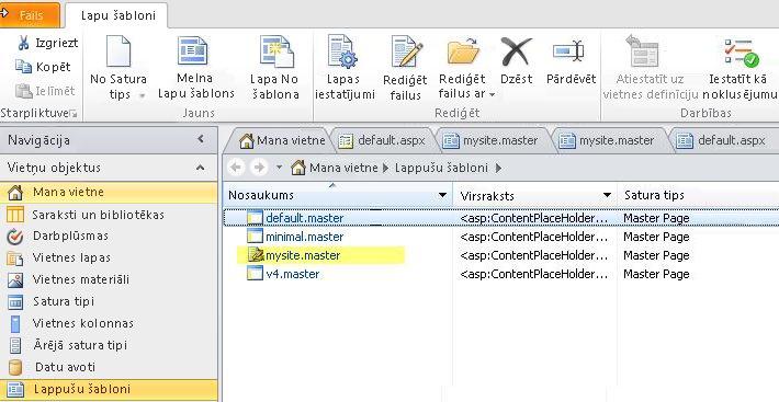 SharePoint 2010 lapu šablonu saraksts.