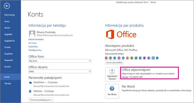 Office atjauninājumu meklēšana programmā Word