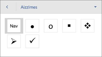 Komanda Aizzīmes, redzamas formatēšanas opcijas