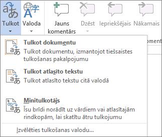 Office programmās pieejamie tulkošanas rīki