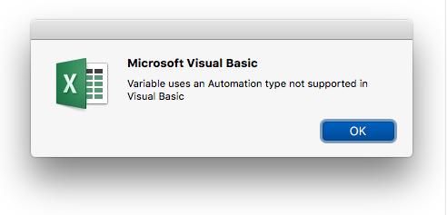 Microsoft Visual Basic kļūda: programmā Visual Basic netiek atbalstīta mainīgo izmantošana un automatizācijas tips.
