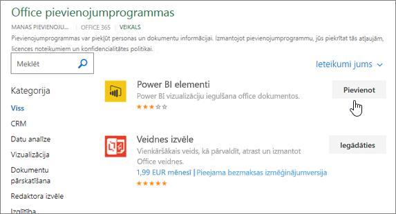 Ekrānuzņēmums, kurā Office pievienojumprogrammas lapā, kur varat atlasīt vai meklēt pievienojumprogrammas programmai Excel.
