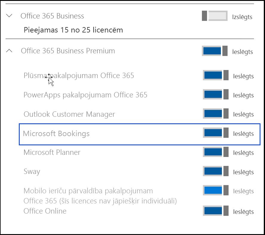 Ekrāna tveršanas rāda Microsoft Bookings iestatījums ir izslēgta lietotāja produkta licences.